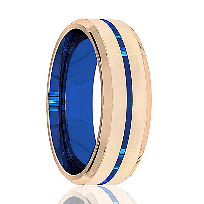 SKYLAR Men's Black Tungsten Wedding Band with Blue Groove & Rose Gold Band
