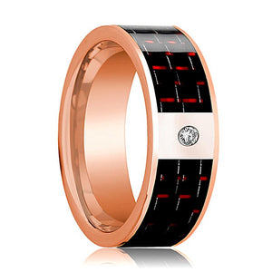 Mens Wedding Band 14K Rose Gold and Diamond with Black & Red Carbon Fiber Inlay Flat Polished Design - AydinsJewelry