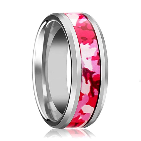 Image of Tungsten Camo Ring - Pink and White Camouflage - Tungsten Wedding Band - Beveled - Polished Finish - 6mm - 8mm - Tungsten Wedding Ring - AydinsJewelry