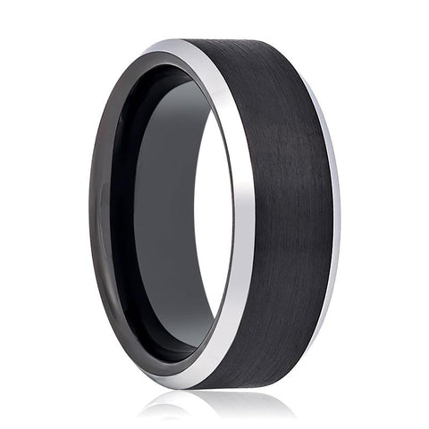 Image of Black Brushed Tungsten Couple Matching Ring with Silver Beveled Polished Edges - 4MM to 10MM - Rings - Aydins_Jewelry