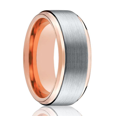 Tungsten Wedding Band - Men and Women - Comfort Fit - Rose Gold & Silver Brushed Beveled Edge - Tungsten Carbide Wedding Ring -  4mm - 6mm - 8mm - 10mm - AydinsJewelry