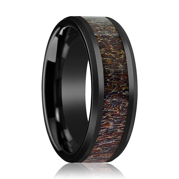 Black Ceramic Ring - Dark Brown Antler Inlay - Ceramic Wedding Band - Beveled - Polished Finish - 8mm - Ceramic Wedding Ring - AydinsJewelry