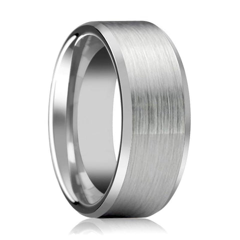 Silver Brushed Tungsten Wedding Band with Beveled Edges - 4MM - 10MM