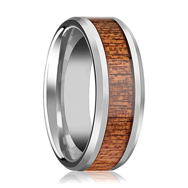 86cb350c47 Beveled Tungsten Couple Matching Ring with African Sapele Wood Inlay  Polished Finish