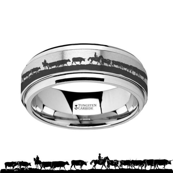 Animal Landscape Scene - Herding Cattle - Spinning Tungsten Ring - Spinner Laser Engraved  - Tungsten Carbide Wedding Band - 8mm - AydinsJewelry