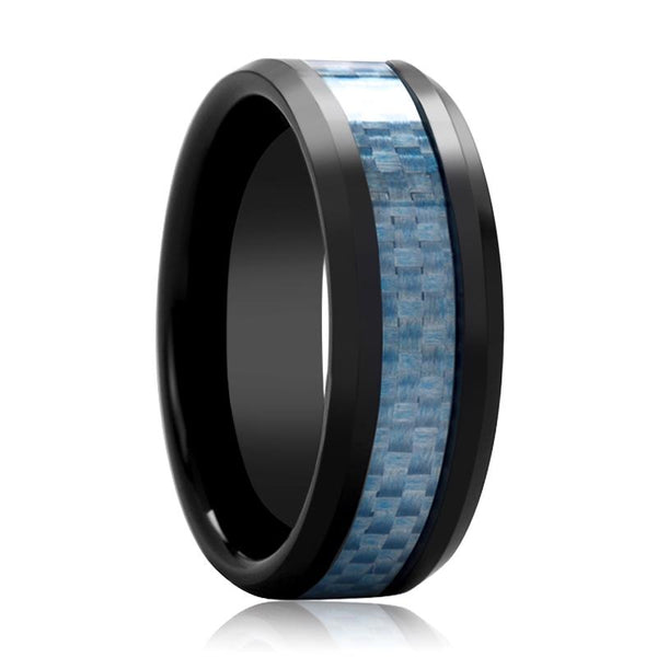 Black Ceramic Ring - Blue Carbon Fiber  - Ceramic Wedding Band - Beveled - Polished Finish - 8mm - AydinsJewelry