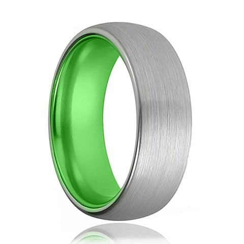 Tungsten Green Ring - Mens Wedding Band - Silver Tungsten Brushed - Acid Green Tungsten - Domed - Tungsten Wedding