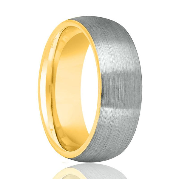 Aydins Gold Tungsten Brushed Silver Ring 8mm Domed Tungsten Carbide Wedding Band - AydinsJewelry