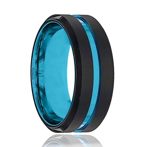Blue Tungsten Ring- Black Tungsten Wedding Band - Groove Beveled Edge - Tungsten Wedding Ring - Mens Tungsten Ring - AydinsJewelry