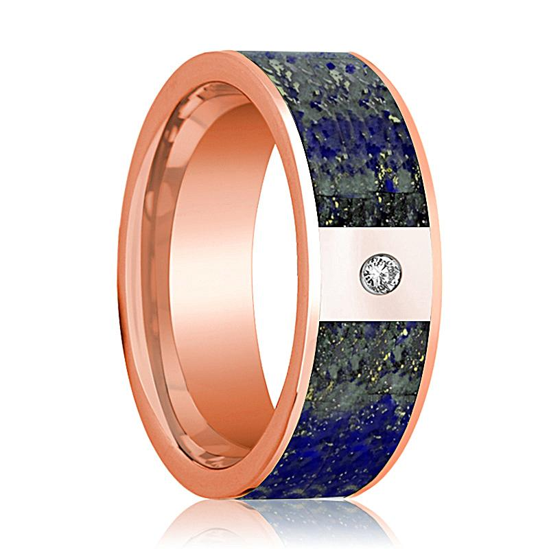 Flat Polished 14k Rose Gold and Diamond Wedding Band with Blue Lapis Lazuli Inlay - 8MM - Rings - Aydins_Jewelry