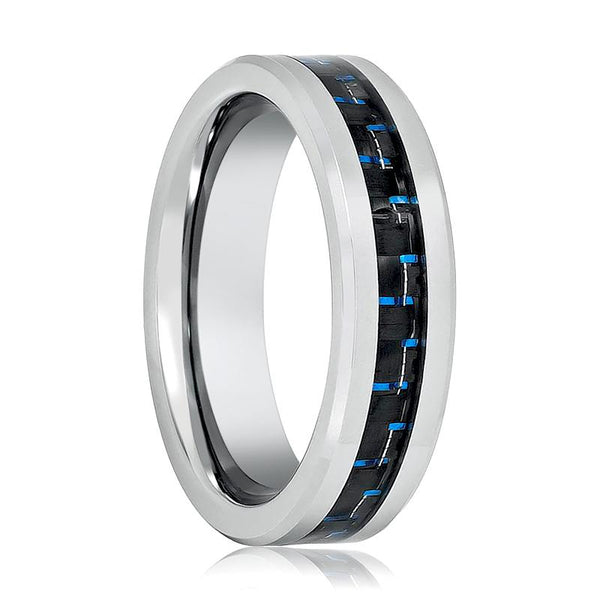 Aydins Silver Mens Tungsten Band Black Blue Carbon Fiber Center Inlay Tungsten Carbide Wedding Ring - AydinsJewelry