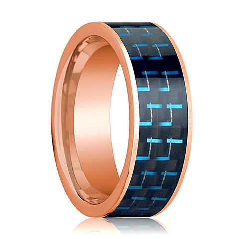 Image of Mens Wedding Band 14K Rose Gold with Black & Blue Carbon Fiber Inlay Flat Polished Design - AydinsJewelry