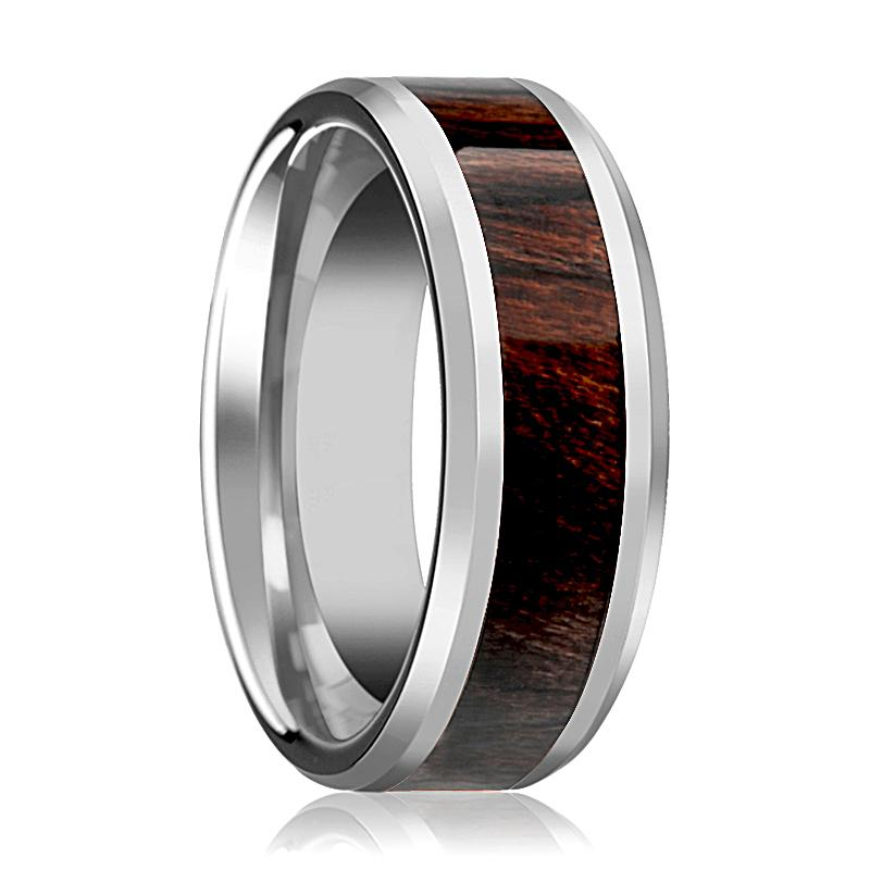 Bubinga Wood Inlaid Silver Tungsten Wedding Band for Men with Beveled Edges - 8MM - Rings - Aydins_Jewelry