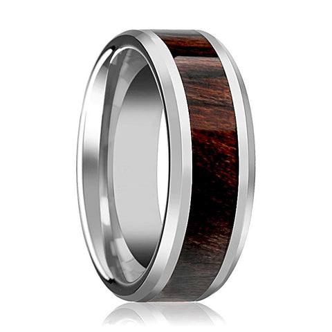 Image of Bubinga Wood Inlaid Silver Tungsten Wedding Band for Men with Beveled Edges - 8MM - Rings - Aydins_Jewelry