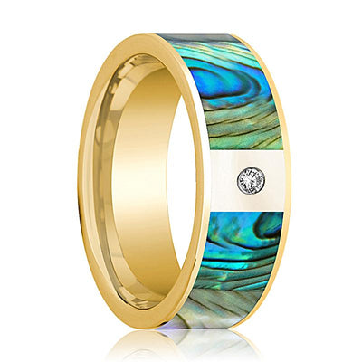 Mens Wedding Band 14K Yellow Gold with Mother of Pearl Inlay and Diamond Flat Polished Design - AydinsJewelry