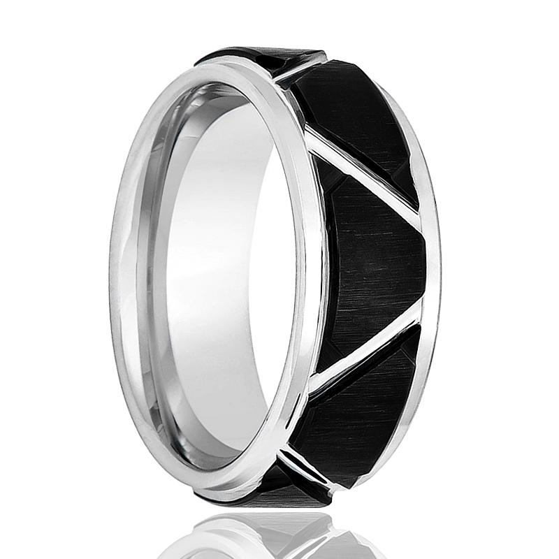 Aydins Silver Mens Tungsten Band Black Trapezoid Design Center 8mm Tungsten Carbide Wedding Ring - Rings - Aydins_Jewelry