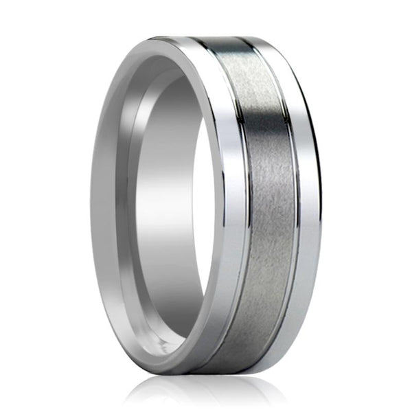 Tungsten Wedding Band Flat with Grooves Polished Edges and Brush Center Tungsten Carbide Ring 6mm, 8mm