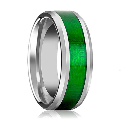 Image of Tungsten Textured Green Inlay - Tungsten Wedding Band - Beveled - Polished Finish - 8mm - Tungsten Wedding Ring - AydinsJewelry