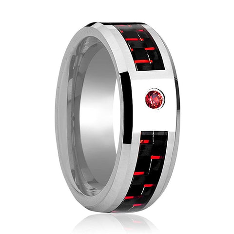 Tungsten Wedding Ring with Red Diamond Setting and Red & Black Carbon Fiber Inlay
