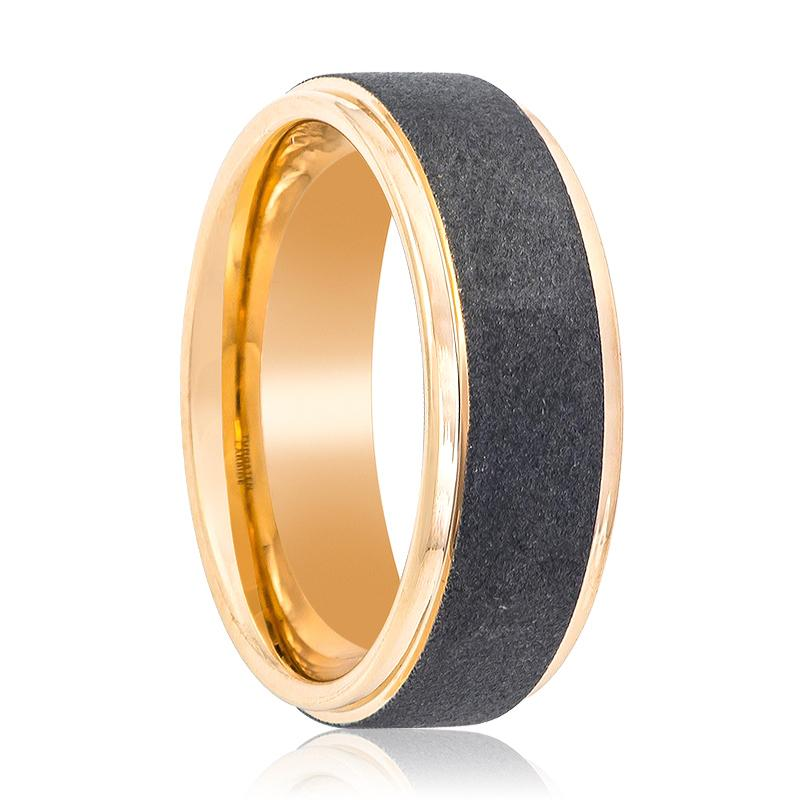 Rose Gold Men's Tungsten Wedding Band with Sandblasted Center and Polished Stepped Edges - 8MM