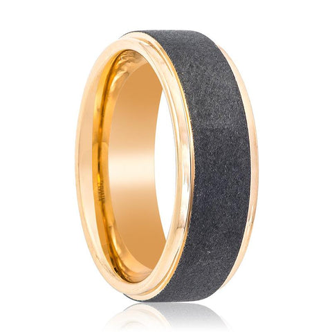 Image of Rose Gold Men's Tungsten Wedding Band with Sandblasted Center and Polished Stepped Edges - 8MM