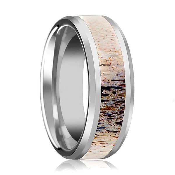 Tungsten Ombre Deer Antler Inlay - Tungsten Wedding Band - Beveled - Polished Finish - 8mm - Tungsten Wedding Ring - AydinsJewelry