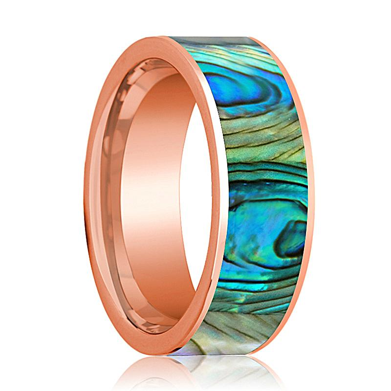 Flat 14k Rose Gold Men's Wedding Band with Mother of Pearl inlay Polished Finish - 8MM - Rings - Aydins_Jewelry
