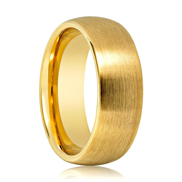 Aydins Gold Brushed Domed Tungsten Ring Wedding Band 4mm, 6mm, 8mm Tungsten Carbide Wedding Ring - AydinsJewelry