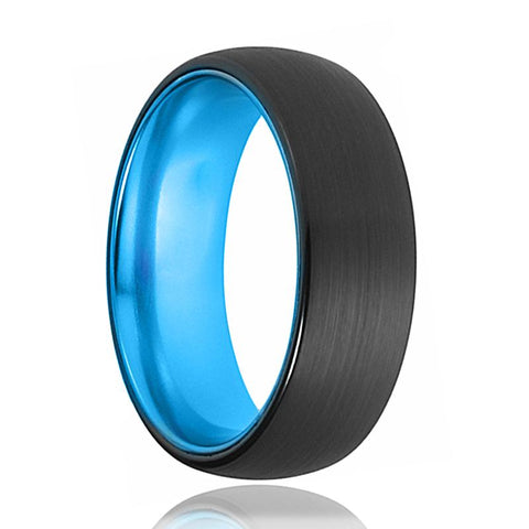 Image of Tungsten Blue Ring - Mens Wedding Band - Black Tungsten Brushed - Aqua Blue Tungsten - Dome Ring - Tungsten Wedding Ring - Man Tungsten Ring - AydinsJewelry