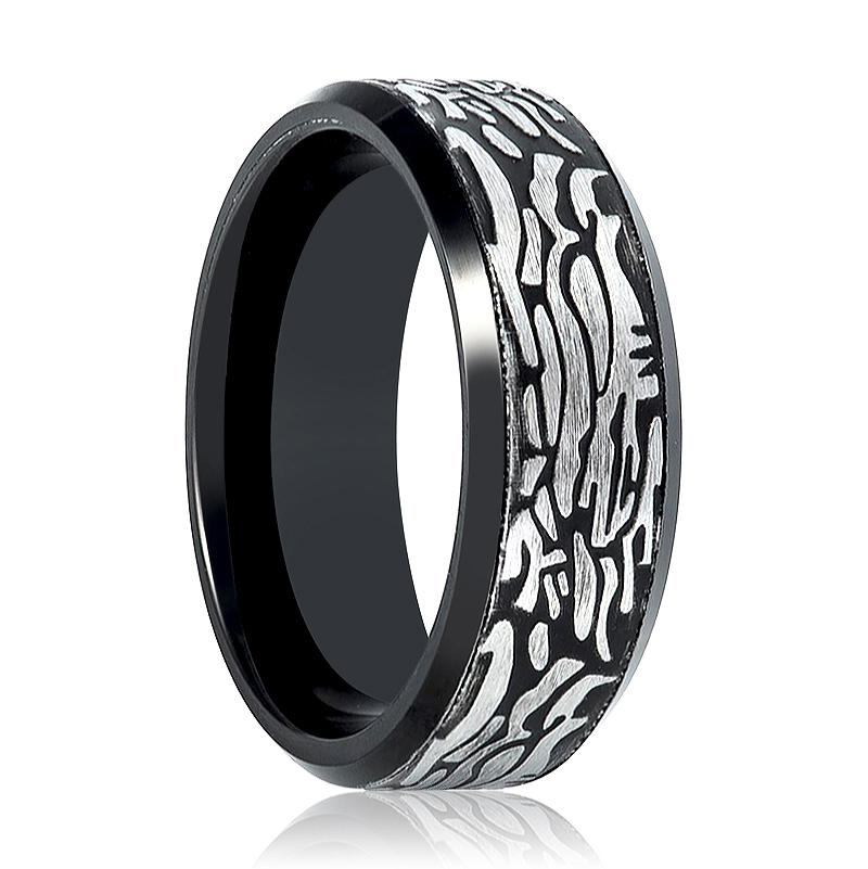 Aydins Tungsten Mens Ring Black Laser Carved Rock Art Pattern Tungsten Carbide Wedding Band - Rings - Aydins_Jewelry