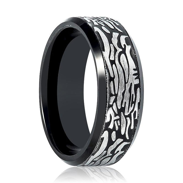 Aydins Tungsten Mens Ring Black Laser Carved Rock Art Pattern Tungsten Carbide Wedding Band - AydinsJewelry