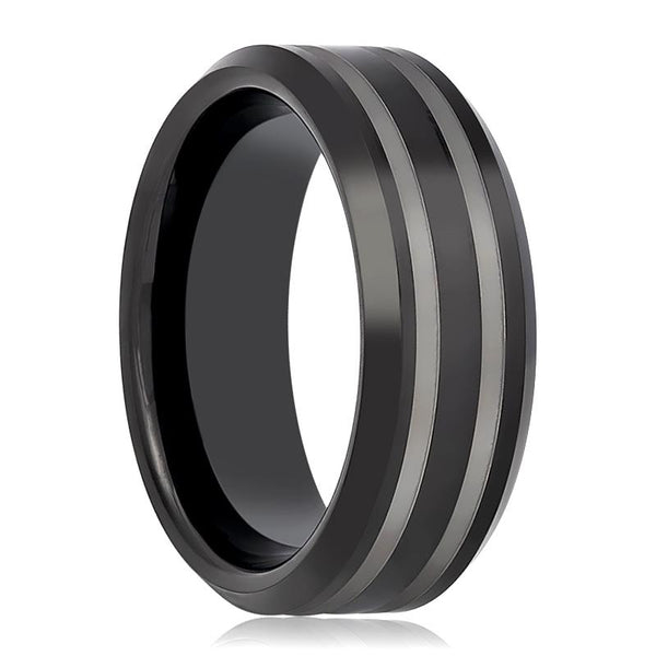 Aydins Tungsten Mens Wedding Band Black Double Line Laser Engraved 8mm Tungsten Carbide Ring - AydinsJewelry