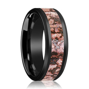 FYANG Pink Dinosaur Bone Inlay Ceramic Wedding Band - Rings - Aydins_Jewelry