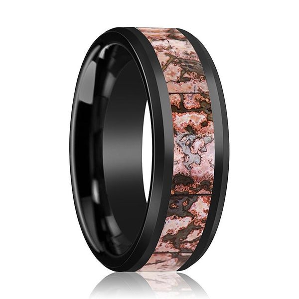 FYANG Pink Dinosaur Bone Inlay Ceramic Wedding Band - AydinsJewelry