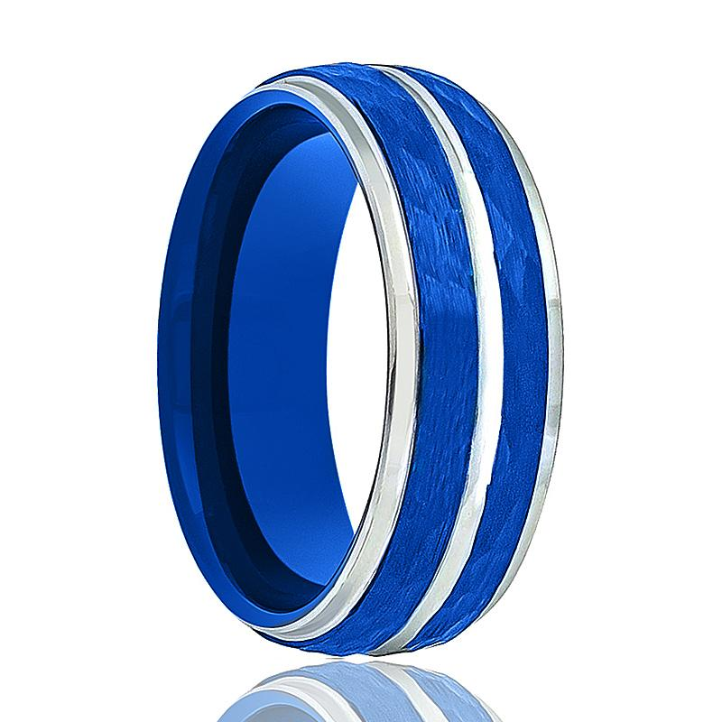 Aydins Tungsten Wedding Ring Two-Tone Silver & Blue Hammered Finish Stepped Edges 8mm Tungsten Carbide Ring - Rings - Aydins_Jewelry