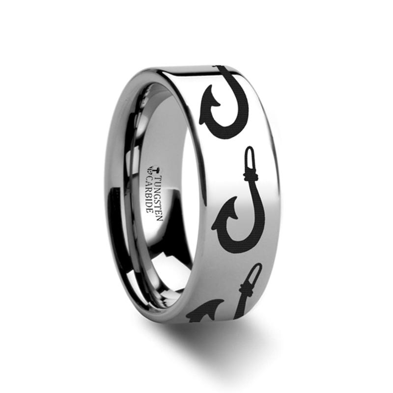 Sea Pattern - Large Polynesian Fishing Hook - Sea Print Ring - Laser Engraved - Flat Tungsten Ring - 4mm - 6mm - 8mm - 10mm - 12mm - AydinsJewelry