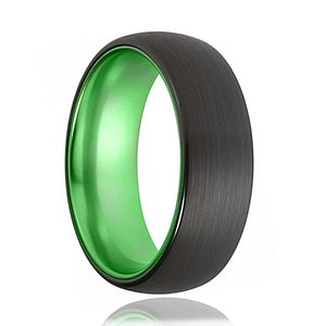 Tungsten Green Ring - Mens Wedding Band - Black Tungsten Brushed - Acid Green Tungsten - Domed - Tungsten Wedding Ring - Man Tungsten Ring - AydinsJewelry