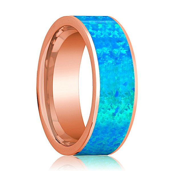 Mens Wedding Band 14K Rose Gold with Blue Opal Inlay Flat Polished Design - AydinsJewelry
