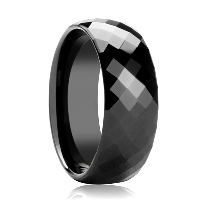 Black Diamond Faceted Tungsten Couple Matching Wedding Band Polish Finish - Rings - Aydins_Jewelry