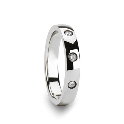 White Diamond Wedding Ring - Tungsten Ring - Silver Tungsten - 3 Diamonds - Tungsten Wedding Band - 4mm - AydinsJewelry