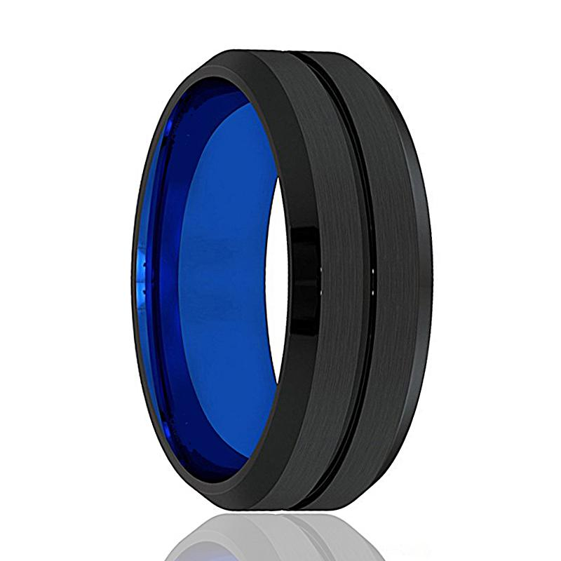 FIRESTORM Blue and Black Tungsten Wedding Band - Rings - Aydins_Jewelry