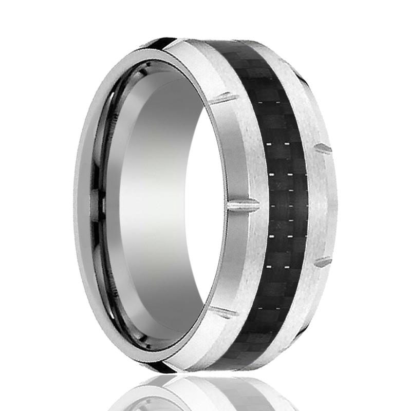 Aydins Mens Tungsten Wedding Band w/ Carbon Fiber Inlay & Multiple Grooved Edges 10mm Tungsten Carbide Ring - AydinsJewelry