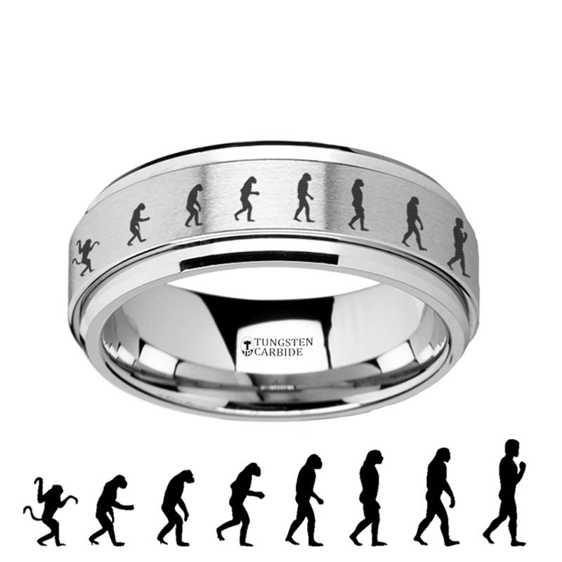 Human Evolution Engraved - Spinning Tungsten Ring - Laser Engraved - Tungsten Carbide Wedding Band - 8mm - AydinsJewelry