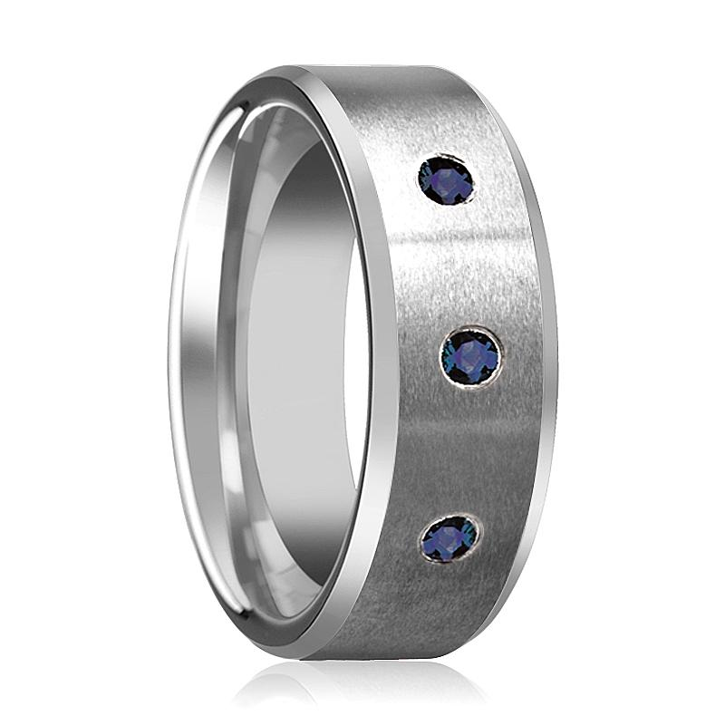 JOSIAH 3 Blue Sapphires Tungsten Men's Wedding Band - Rings - Aydins_Jewelry