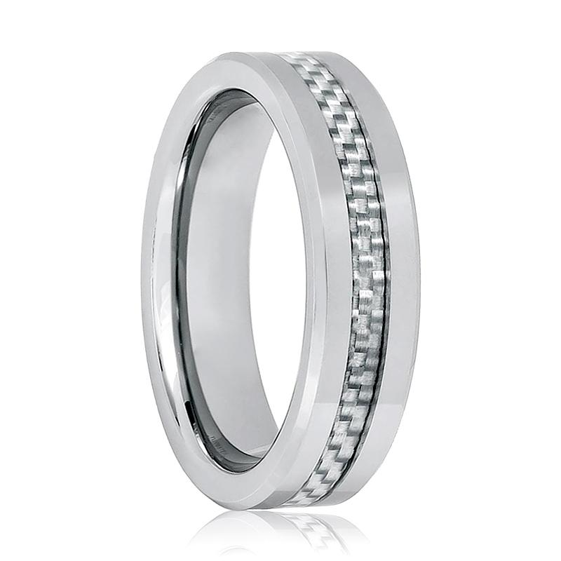 Aydins Silver Mens Tungsten Wedding Ring Grey Carbon Fiber Inlay 6mm Tungsten Carbide Wedding Ring - AydinsJewelry