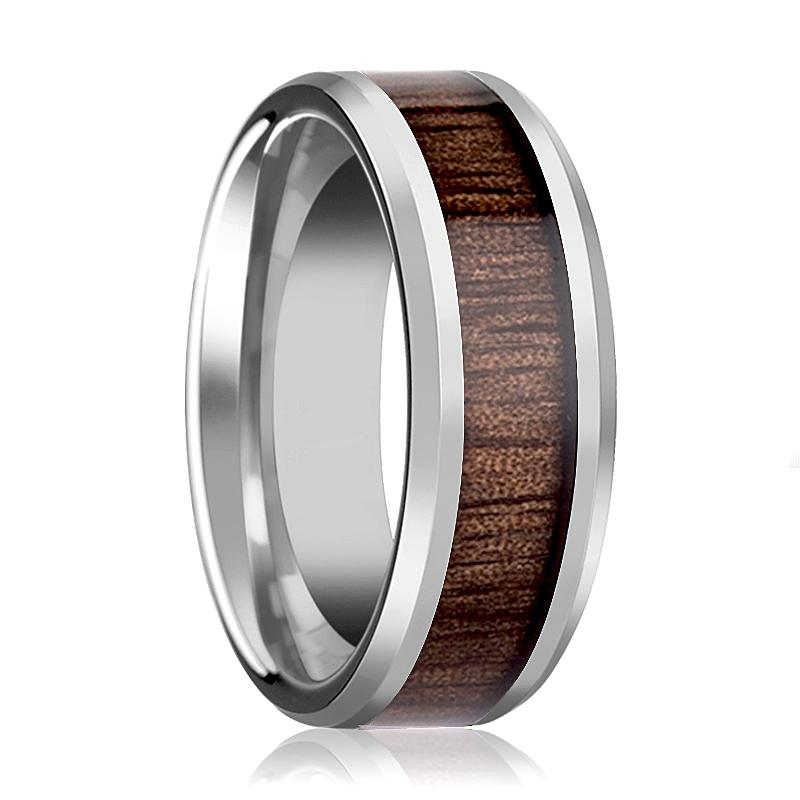 Tungsten Wood Ring - Redwood Inlay - Tungsten Wedding Band - Polished Finish - 4mm - 6mm - 7mm - 8mm - 10mm - 12mm - Tungsten Wedding Ring - AydinsJewelry