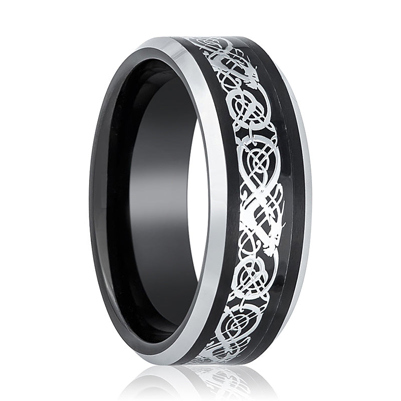 Black Tungsten Ring Celtic Cut-Out Design Inlay and Beveled Edge.
