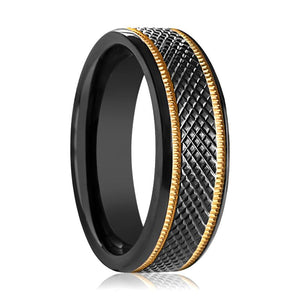 WORTHY Black Titanium Mens Wedding Band