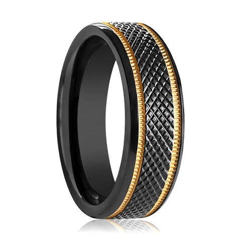 Image of WORTHY Black Titanium Men's Wedding Band with Diamond Pattern & Gold Offset Milgrains - 8MM