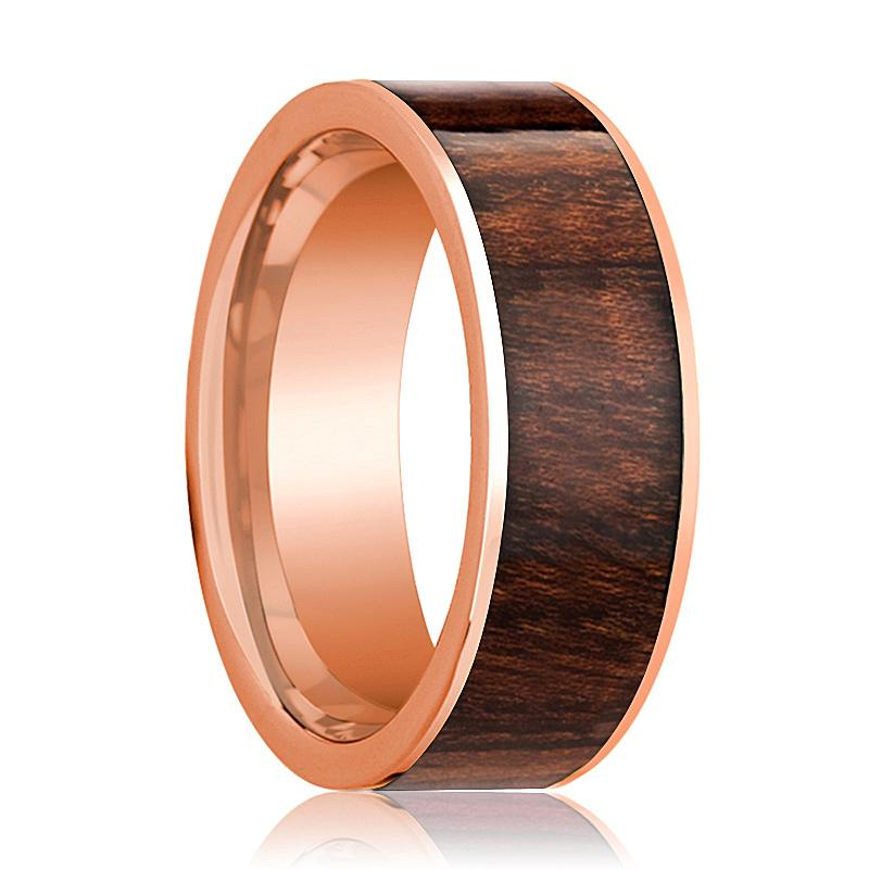 Mens Wedding Band Polished Flat 14k Rose Gold Wedding Ring with Carpathian Wood Inlay - 8mm - AydinsJewelry